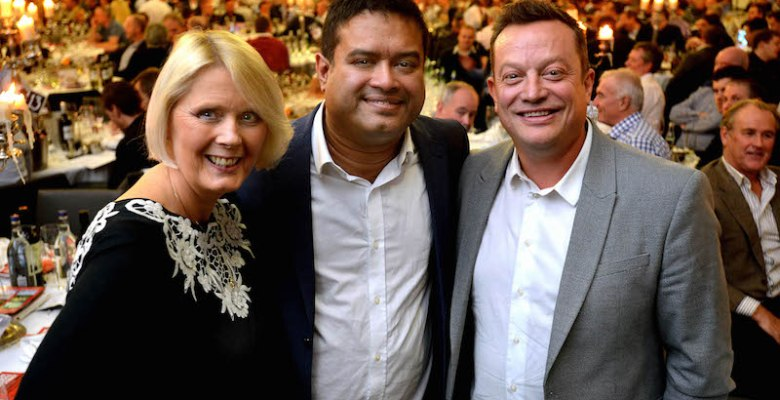 Comedy afternoon - Beechwood fundraising manager Angela Gray, comedian Paul Sinha and Beechwood patron and event sponsor, John Stevenson, managing director of Pareto.