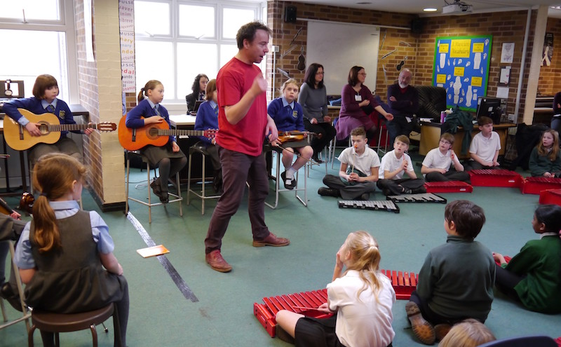 Pupils from Brabyns and Great Moor enjoy a workshop led by renowned cellist, Matthew Sharp sponsored by Stockport IT company CDL