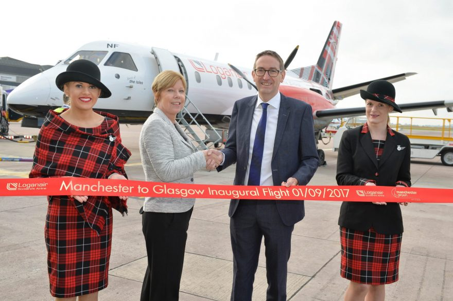 Loganair flies Manchester Glasgow