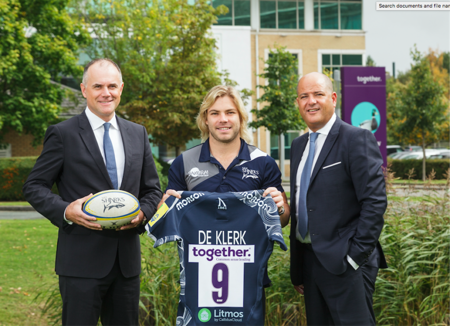 Together's Pete Ball with Faf de Klerk and Marc Goldberg