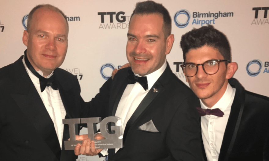 Manchester Airport's Patrick Alexander, Seb Thompson and Nico Spyrou collect the TTG Award for Best UK Airport
