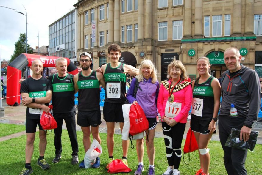 Some of the 10K winners with Stockport Mayor, Councillor Linda Holt