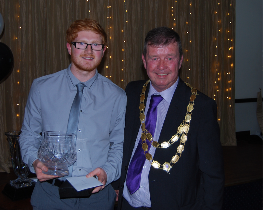 Sport Stockport award winner Ben Higham (Sports Achiever of the Year), award presented by the Deputy Mayor