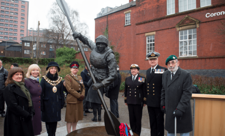 The unveiling of the memorial to Cockleshell Hero Royal Marine James Conway