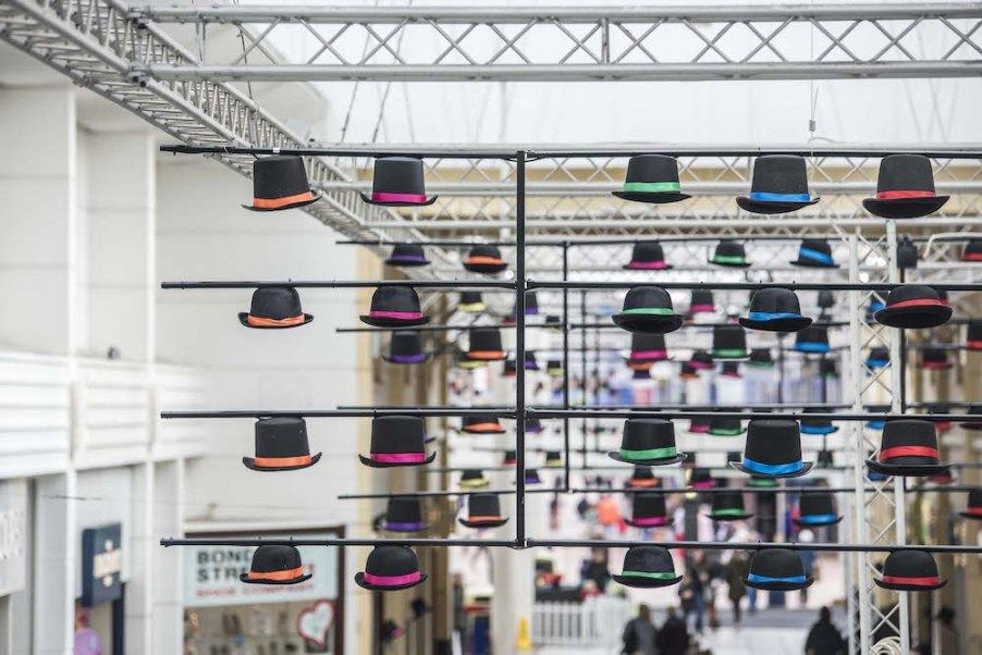 Hats off in Merseyway - an art installation in celebration of Wear a Hat Day