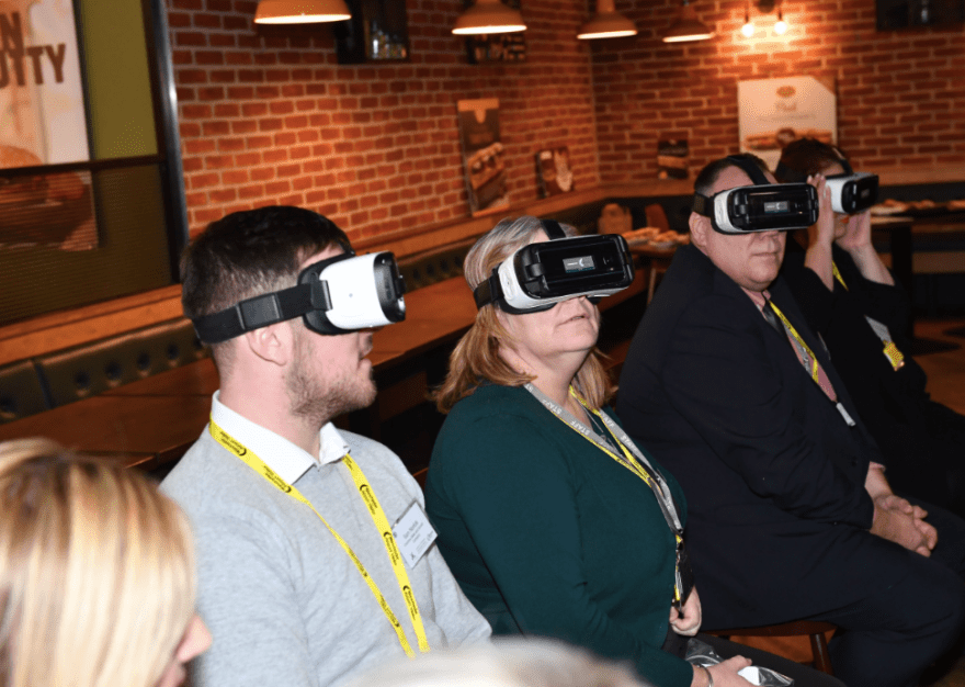 The tour also consisted of a virtual reality look at the airport's £1bn transformation programme