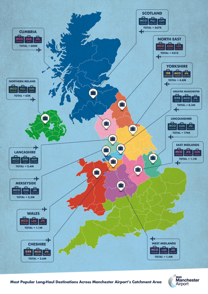 Infographic showcasing which are the most popular long haul routes from across Manchester Airport's extensive catchment area. Plus maps for Cheshire, Greater Manchester, Lancashire and Merseyside