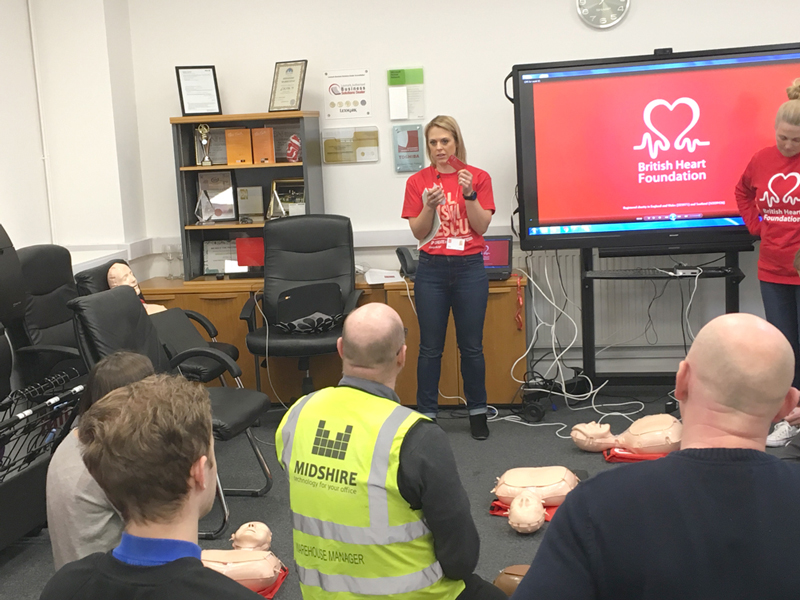 Midshire team with Natalie Bunyan from the British Heart Foundation