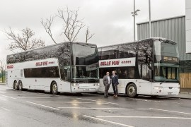 Belle Vue Coaches Manchester managing director Phil Hitchen, right, with transport director Ian Bragg and the company's new double-decker coaches