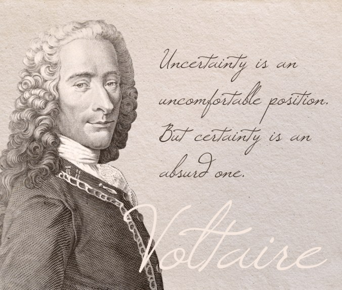 """Uncertainty is an uncomfortable position. But certainty is an absurd one."" - Voltaire"