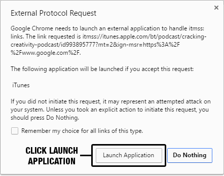Click Launch Application