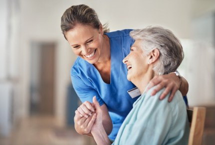 Caring comes naturally to thing caregiver who is helping an elderly patient