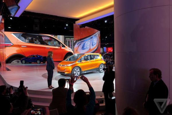 GM CEO Mary T. Barra shows off the Chevy Bolt to the press at the Detroit Auto Show