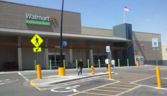 The Walmart Neighborhood Market on Colfax Boulevard in Downtown Aurora a Denver suburb.