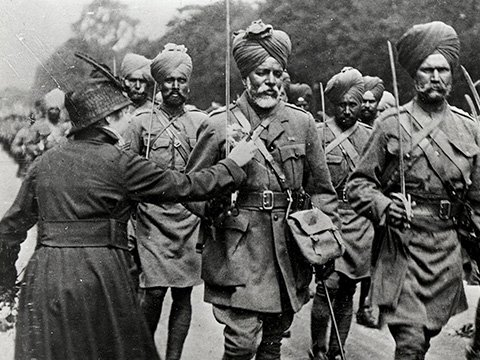 Sikh soldiers in British Service in France during World War I.