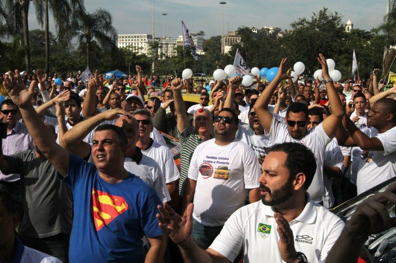 Cab drivers tell Brazil politicians what they think of Uber.