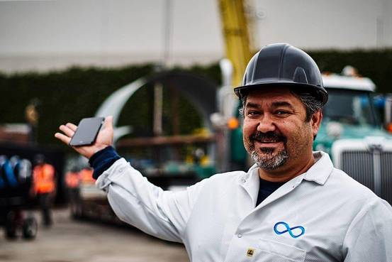 Afshin Pishevar at Hyperloop Tech's facility in downtown LA.