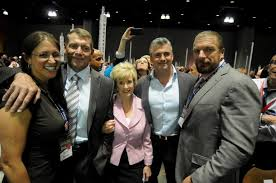 The McMahon family, Stephanie, Vince, Linda, Shane and Son in Law and Wrestler Triple H.