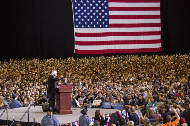Democratic presidential hopeful Sen. Bernie Sanders (I-Vt.) speaks during a rally at the Boston Convention and Exhibition Center in Boston, Oct. 3, 2015. Supporters of Sanders' presidential campaign have given an impressive $26 million-plus in small-dollar donations in the last three months, putting his funding at the pace of Hillary Rodham Clinton's formidable machine. (Charlie Mahoney/The New York Times)
