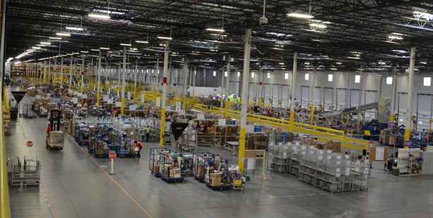 The inside of an Amazon Fulfillment Center.