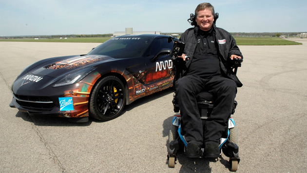 Sam Schmidt  with Arrow's Self Driving Corvette.