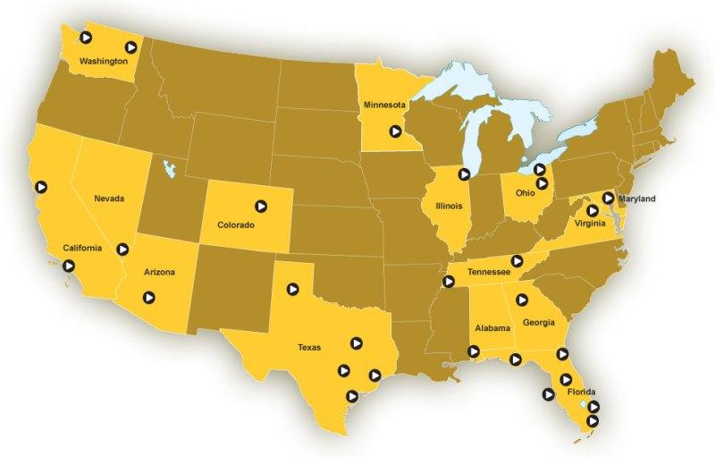 Map of AutoNation's Dealership Locations.