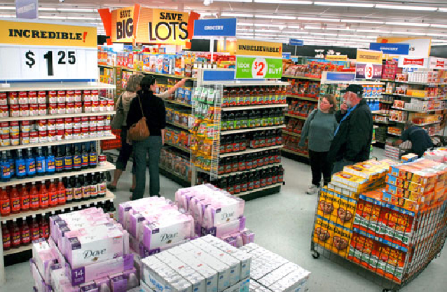 Shoppers check out the offerings at Big Lots at Manor Shopping Center.