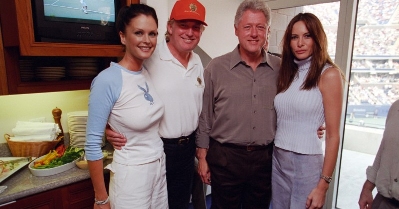 Donald and Melania Trump hanging out with President Bill Clinton and Swimsuit model and Playboy Playmate Kylie Bax in 2000.