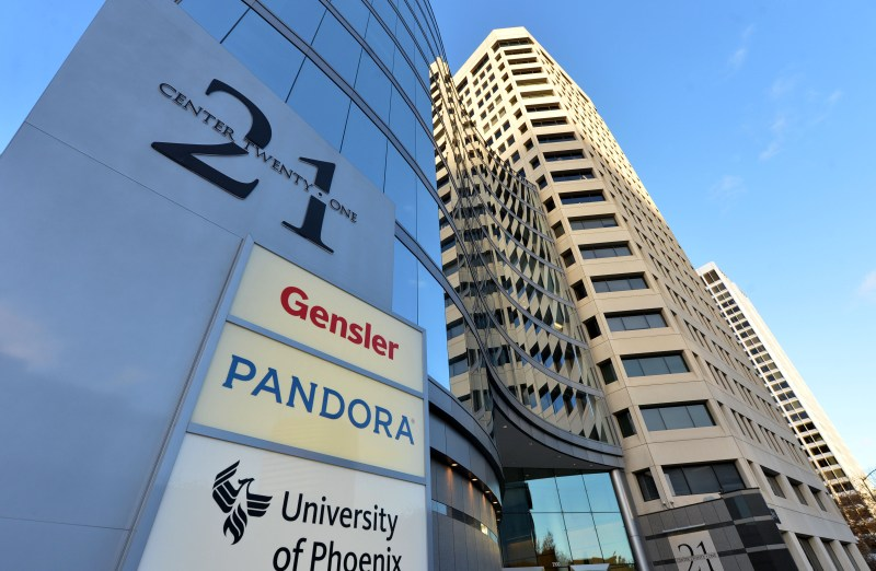 The building that houses the music streaming service Pandora is photographed in Oakland, Calif., on Tuesday, Nov. 24, 2015. (Doug Duran/Bay Area News Group)