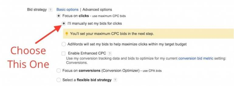 setting manual bids for clicks