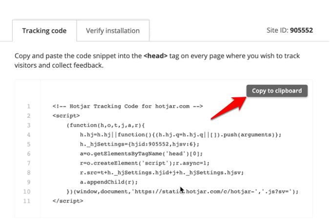 and paste the Tracking Code