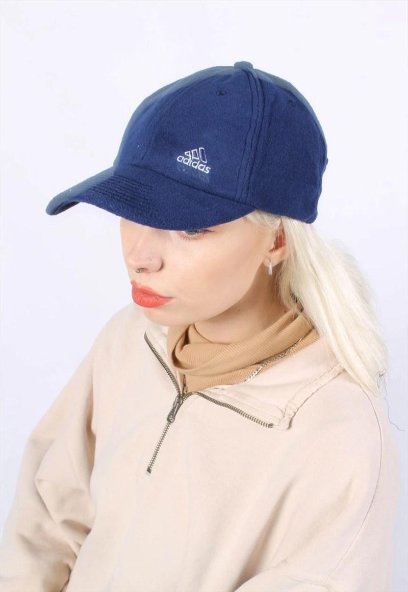 Vintage Adidas Fleece Baseball Cap Hat Blue
