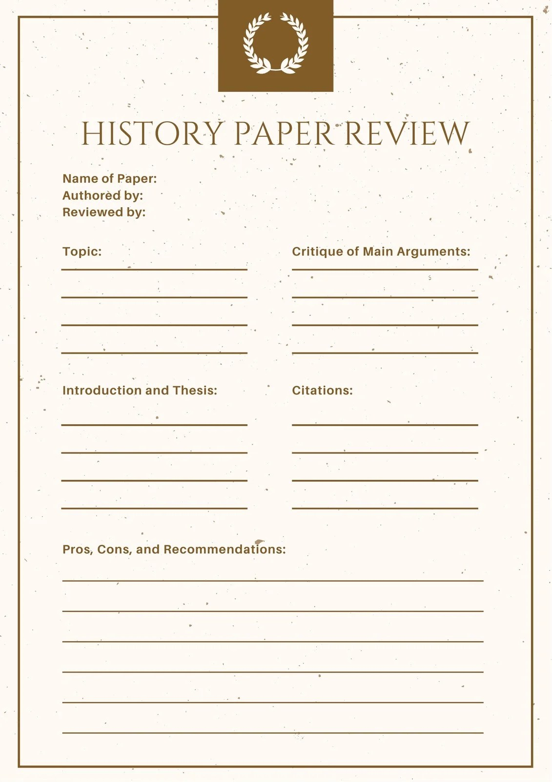 Gold And Cream Elegant History Book Review Worksheet