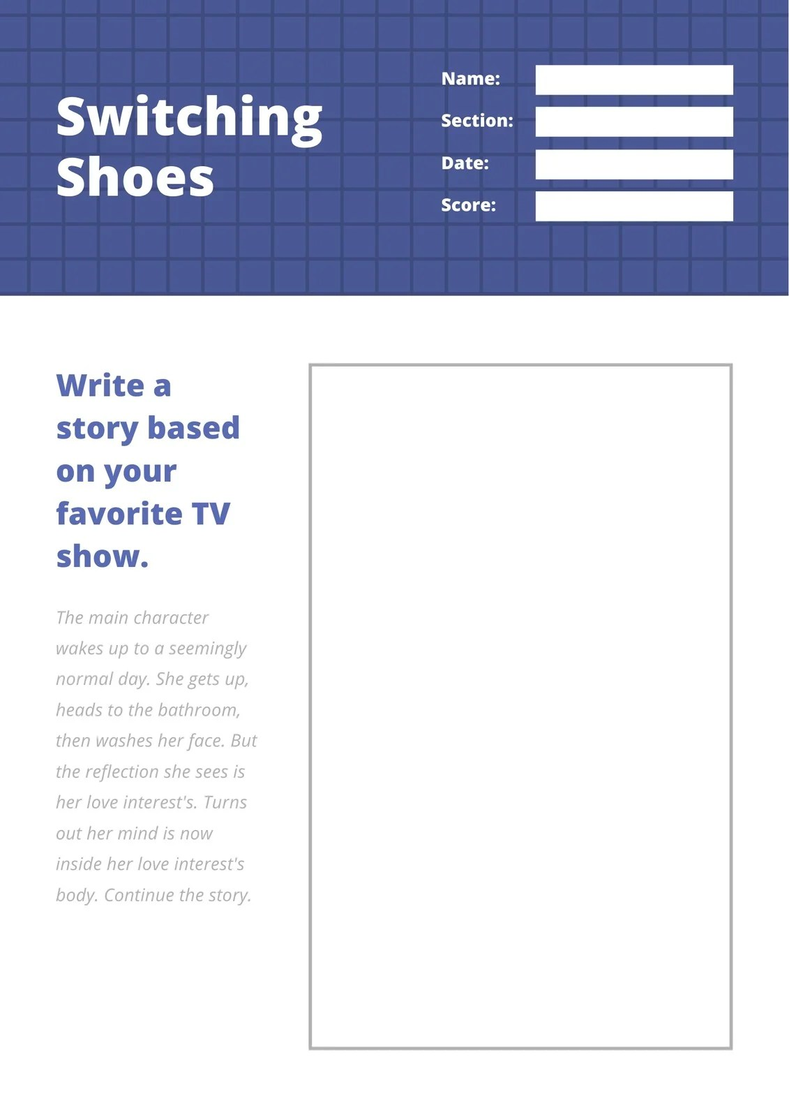Blue And Grey Fanfiction Grid Writing Prompt Worksheet