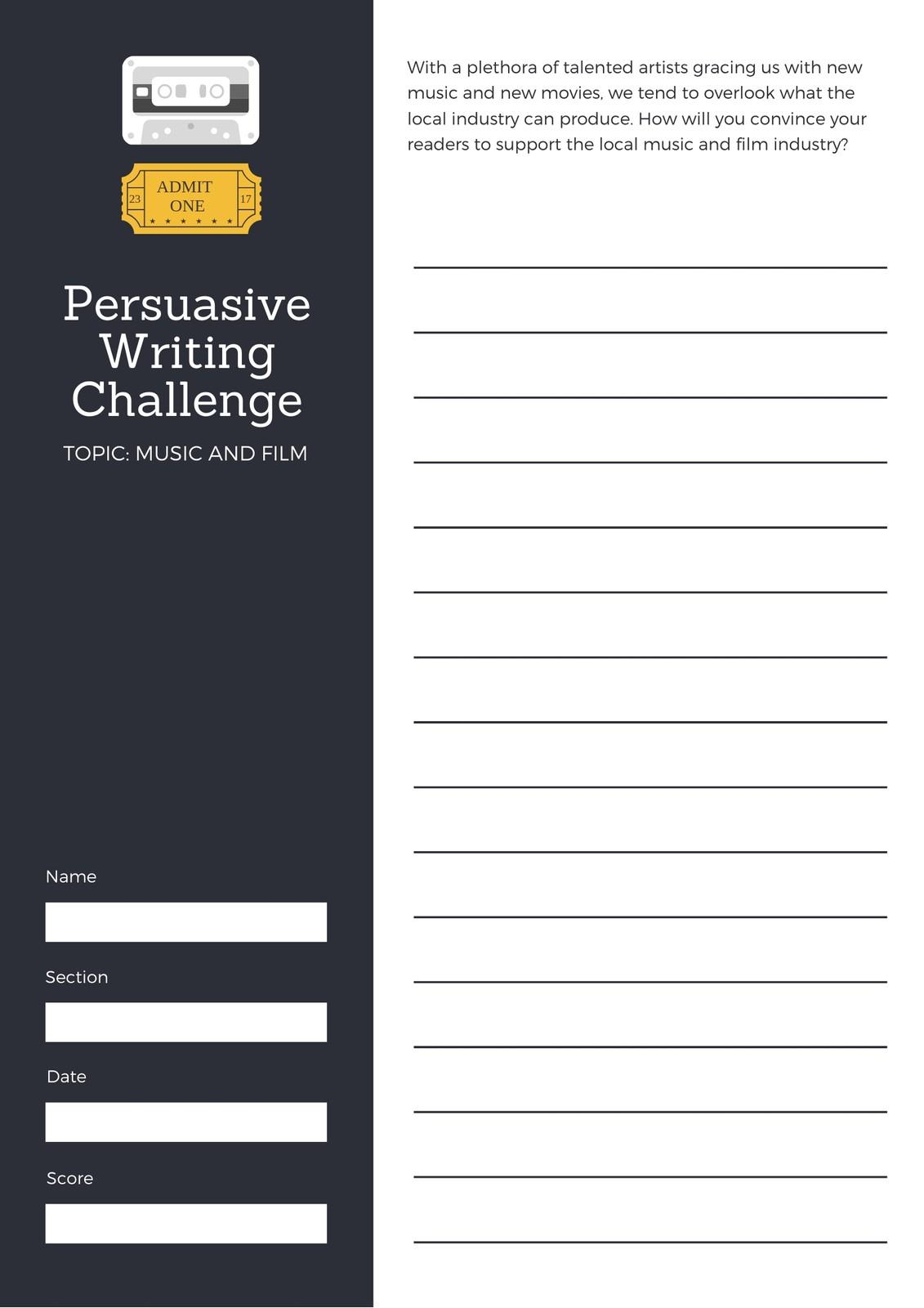 Black Persuasive Writing Prompt Worksheet