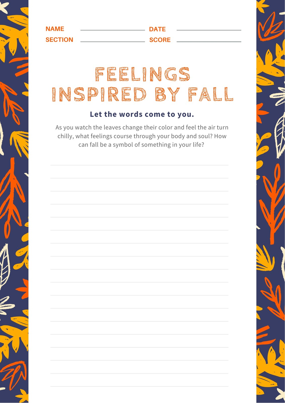 Indigo Foliage Fall Autumn Writing Prompt Worksheet
