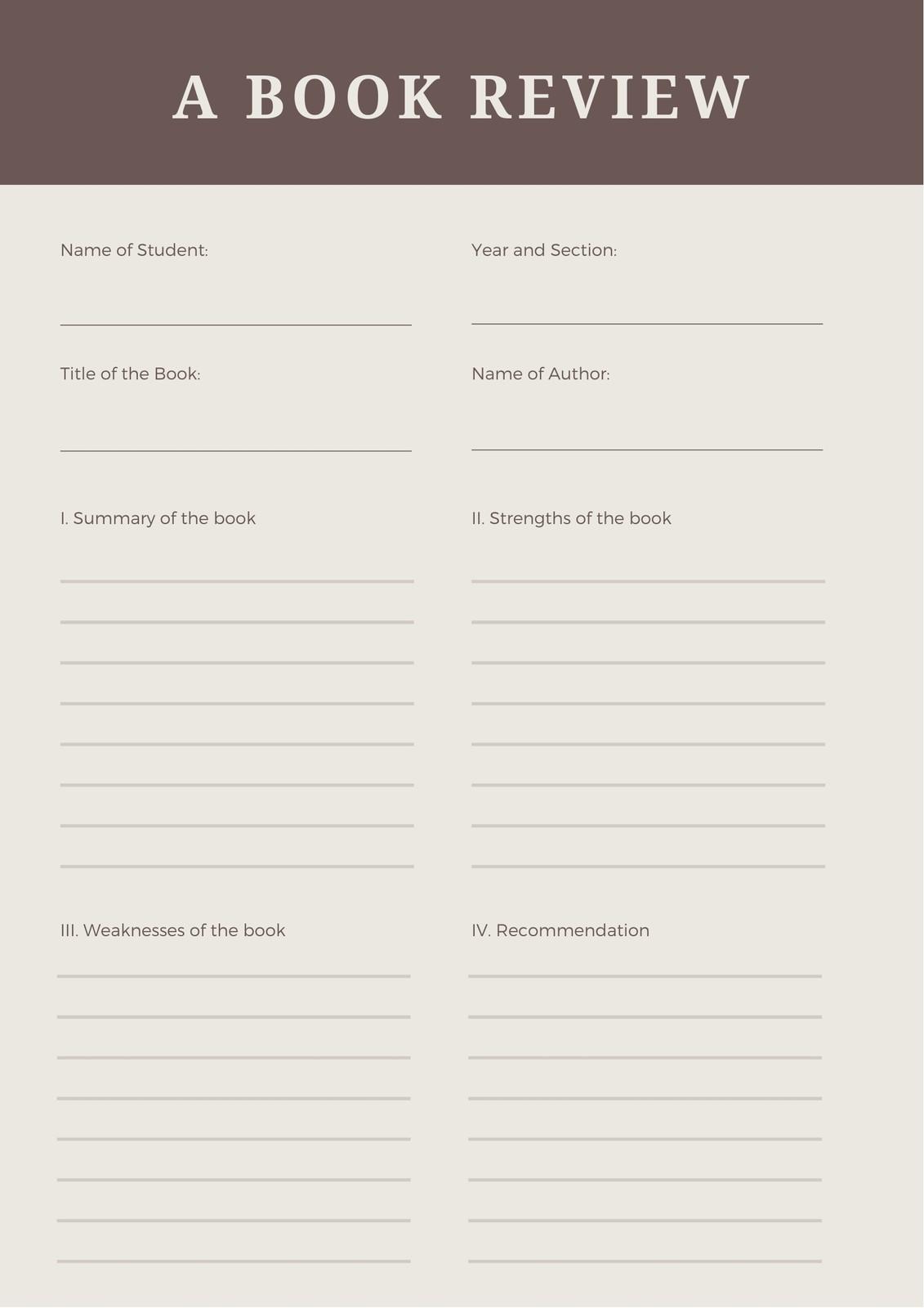 Brown Diagonal Line Non Fiction Book Review Worksheet
