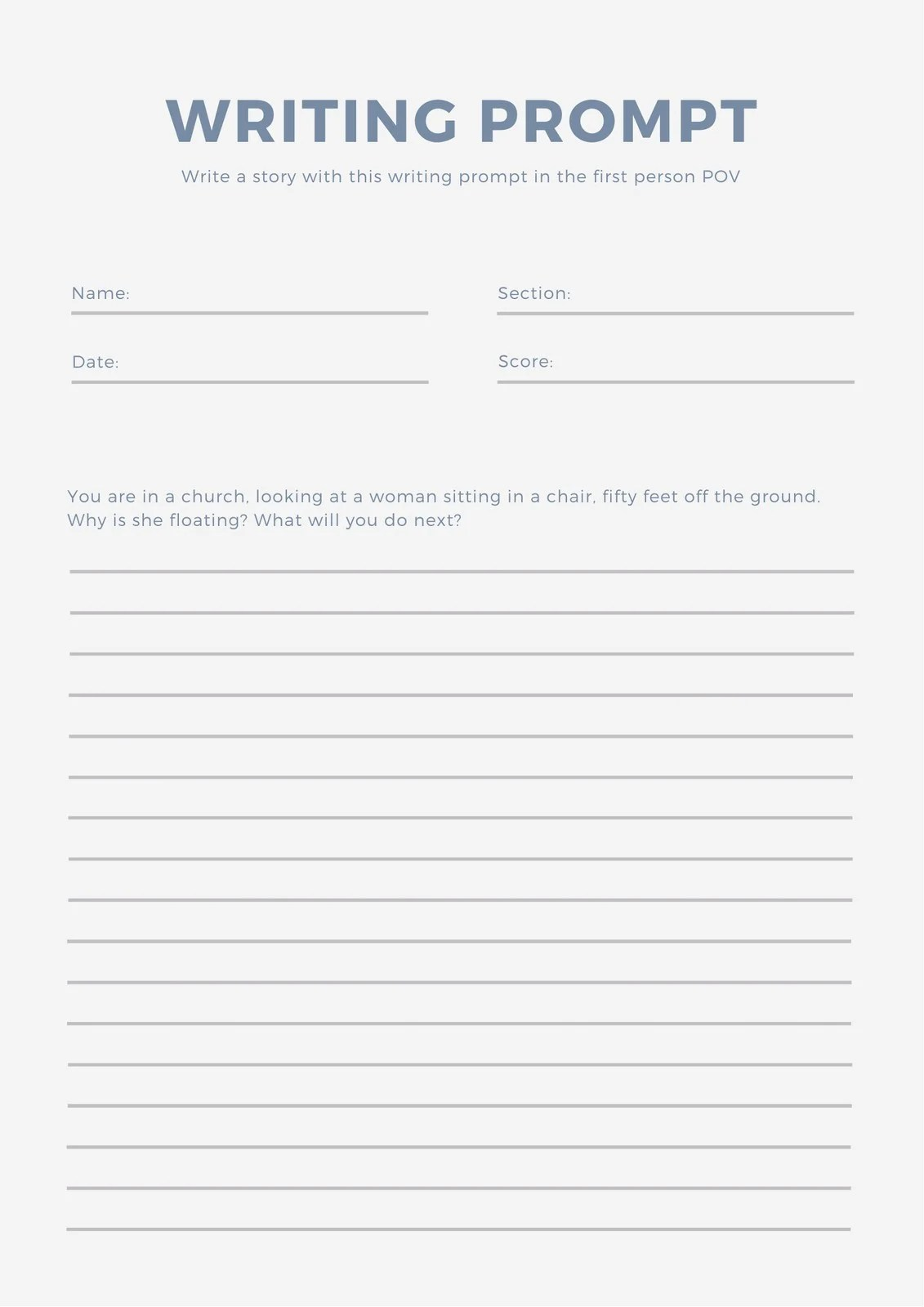 Blueysis Writing Prompt Worksheet