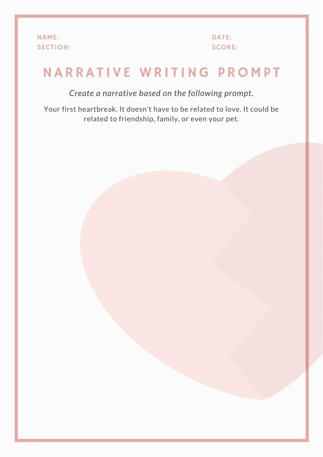 Pink And White Narrative Writing Prompt Worksheet