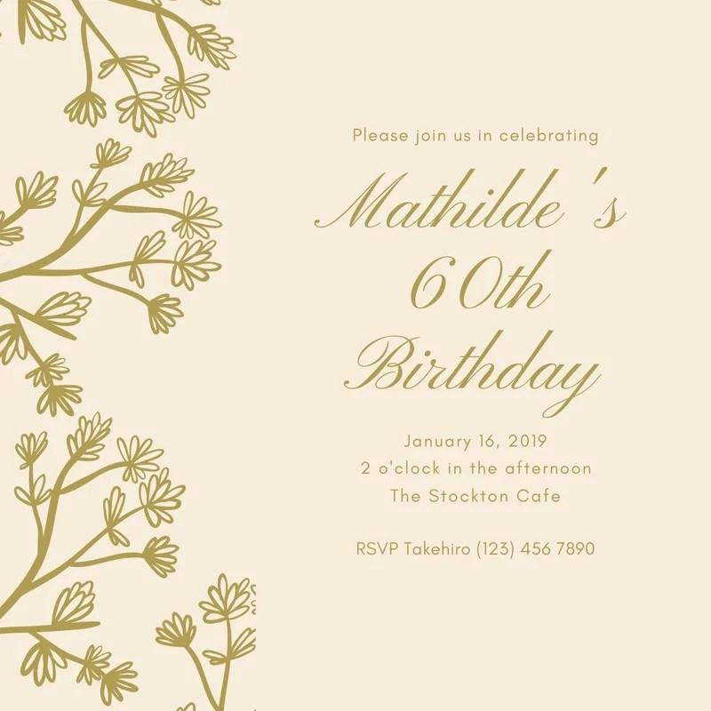 60th birthday invitation templates