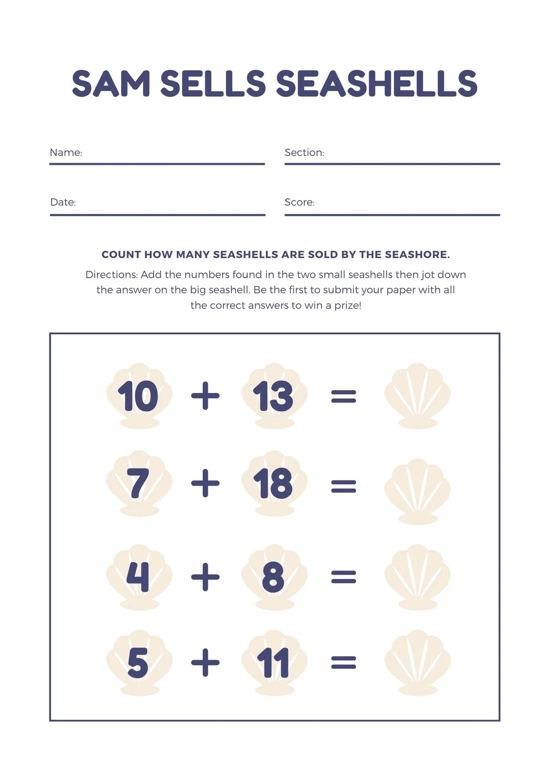 Blue Shells Addition Math Games Worksheet