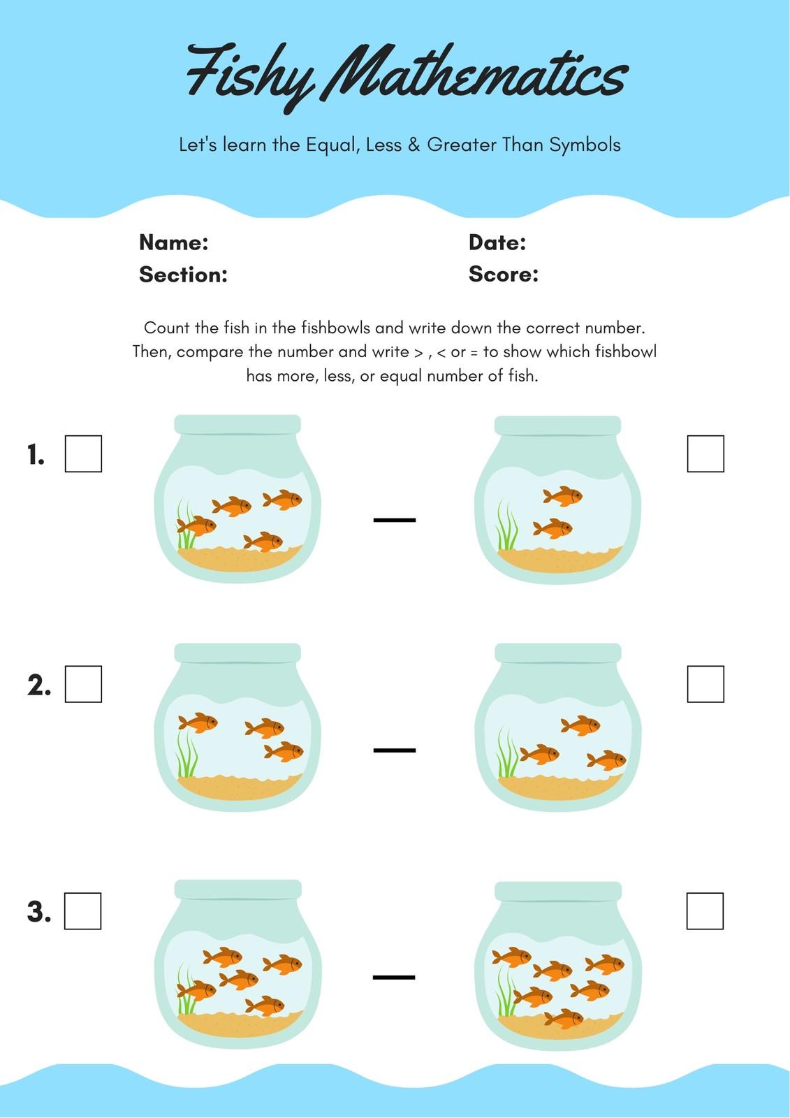 White And Blue Aquarium Fish Math Games Worksheet