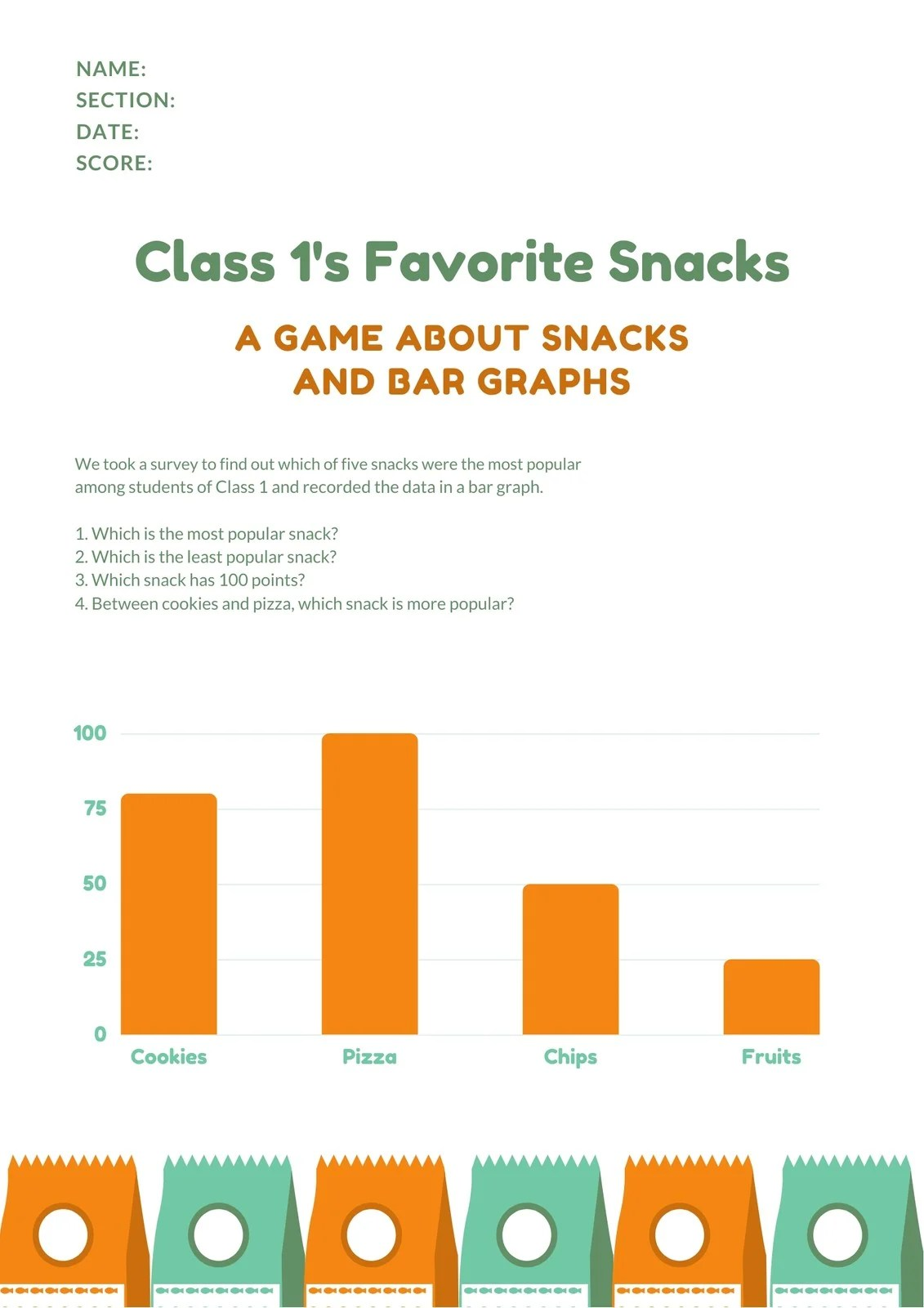 Orange And Bluegreen Bar Graph Math Games Worksheet