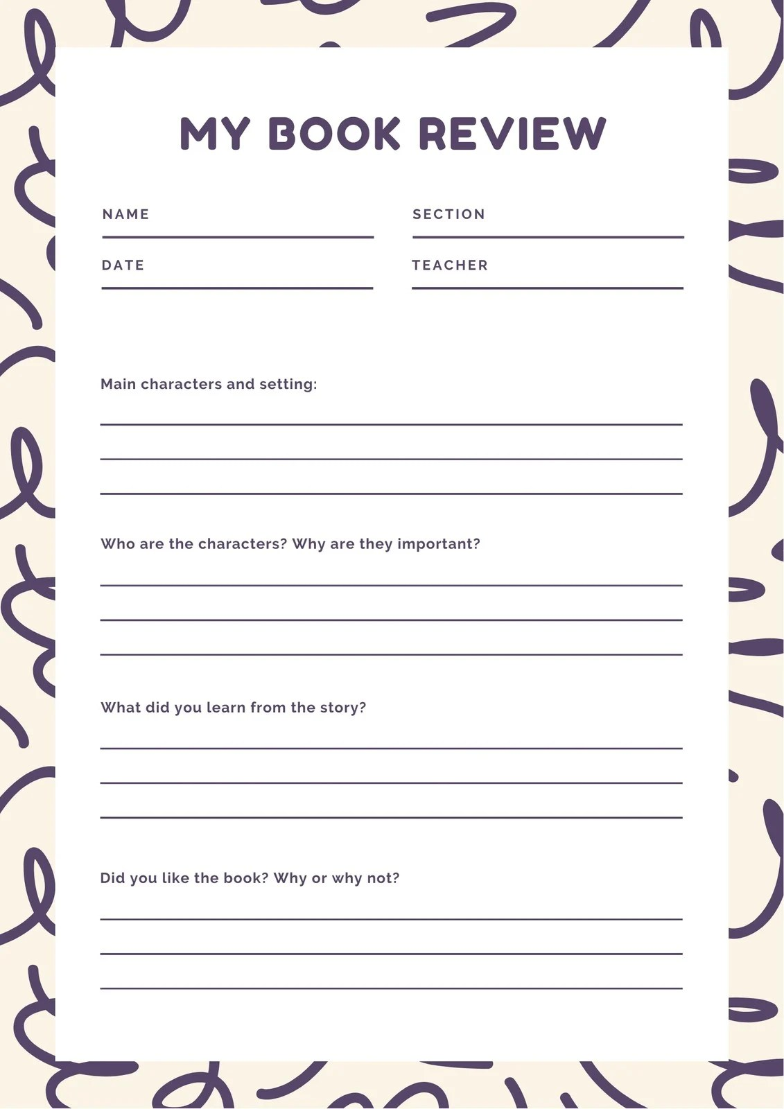 Purple And Cream Primary School Book Review Worksheet