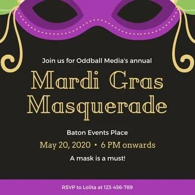 mardi gras invitation templates canva