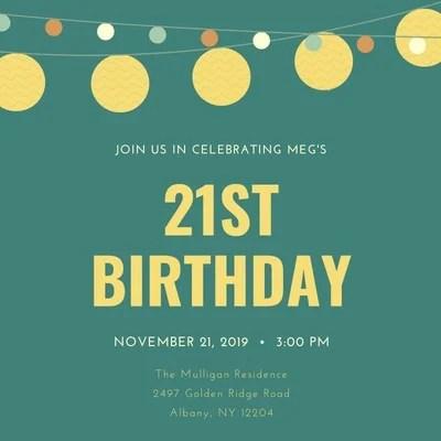 free custom printable 21st birthday