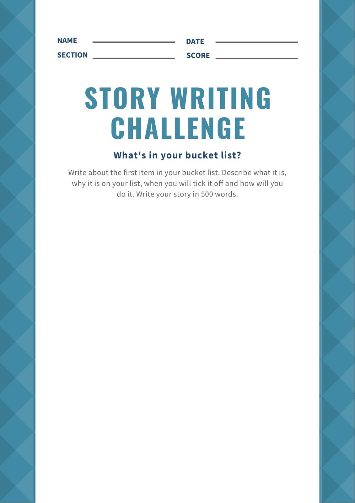 Blue Pattern Story Writing Prompt Worksheet
