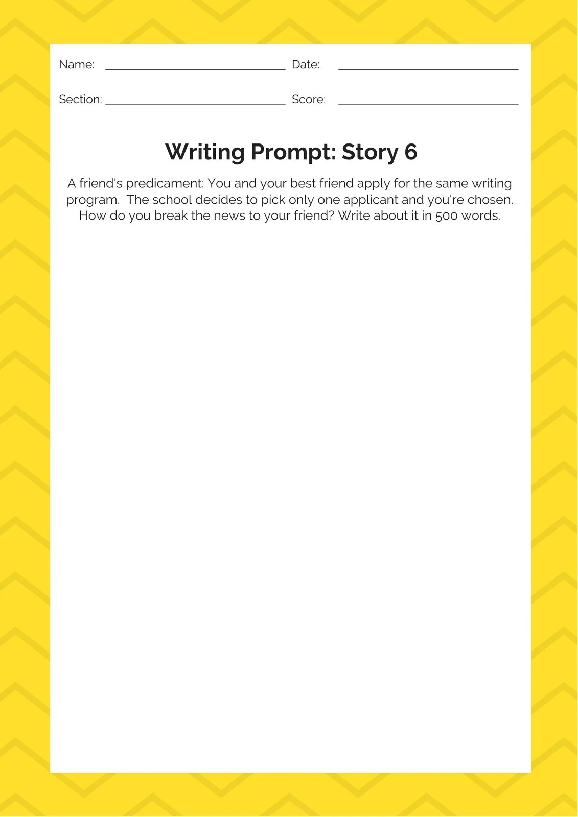 Yellow White Story Writing Prompt Worksheet