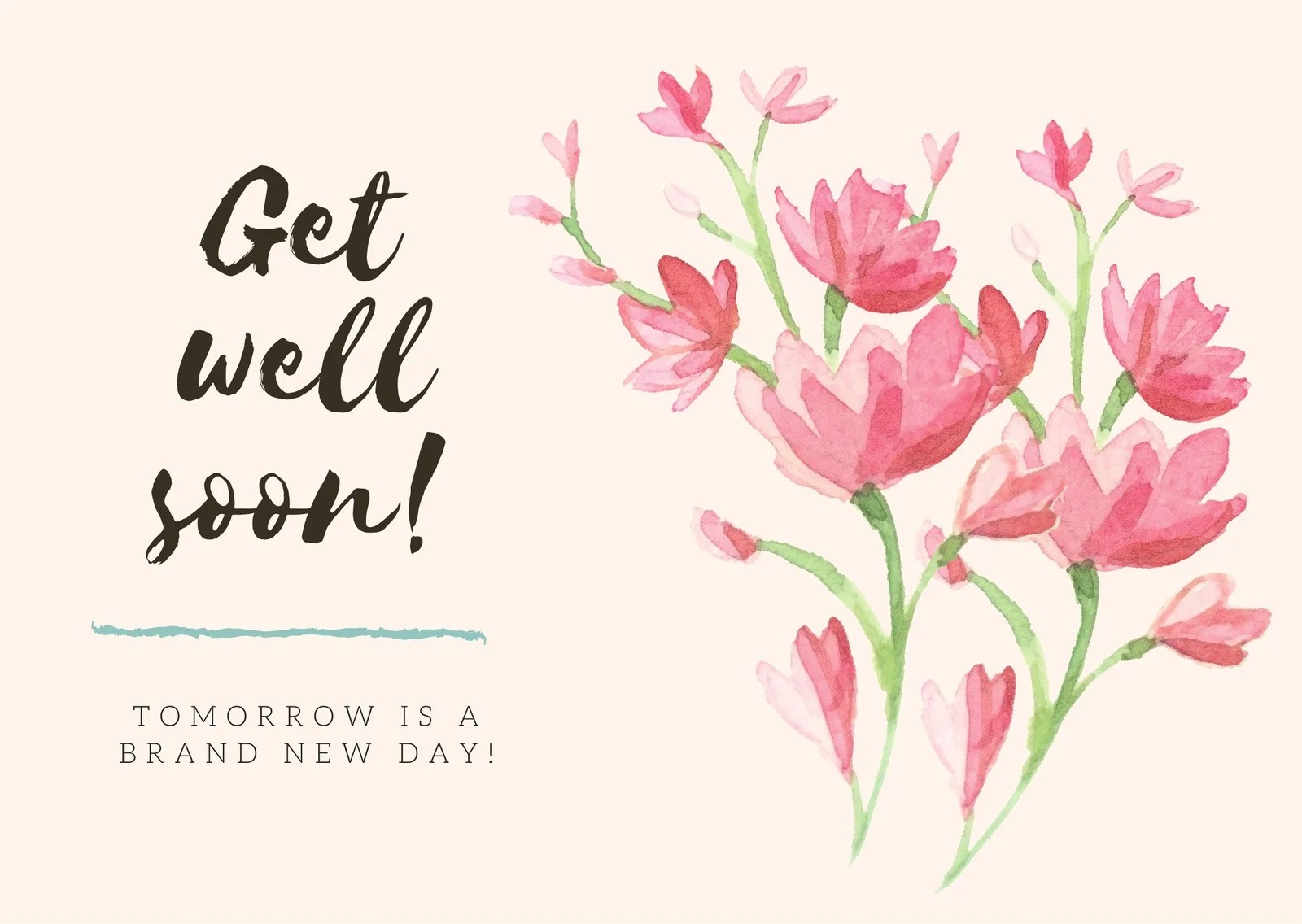 Red Flowers Get Well Soon Card