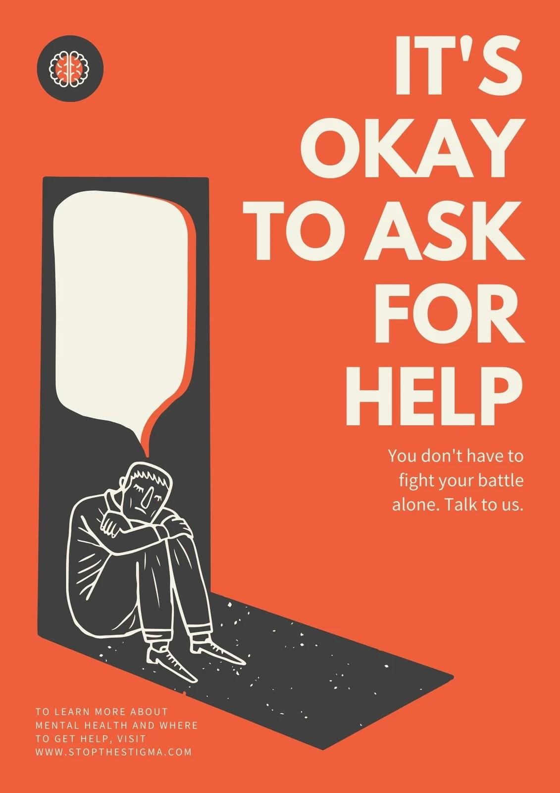 Orange Illustrated Sad Man Mental Health Poster